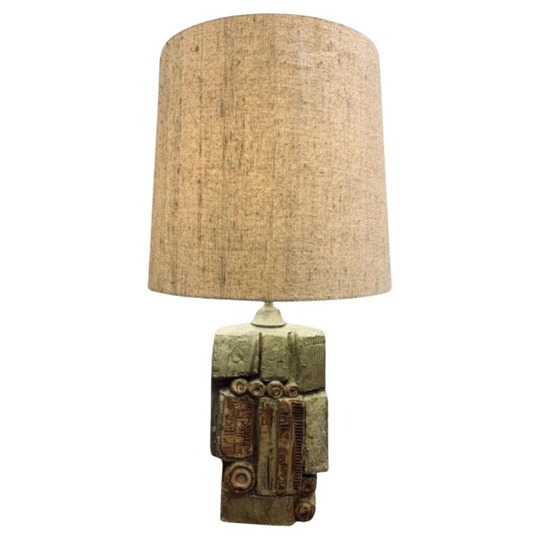1960s English Bernard Rooke Abstract Sculptural Pottery Ceramic Table Lamp For Sale