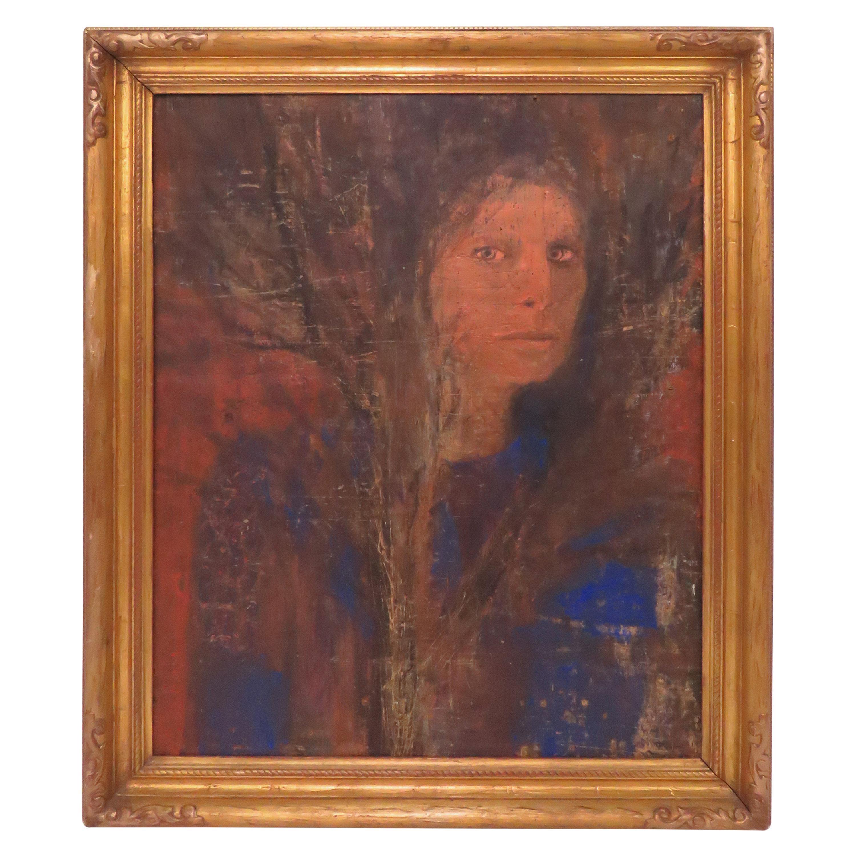 1960s Era Framed Portrait of a Woman on Panel
