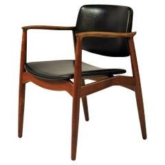 1960s Erik Buch Model 67 Armchair in Teak and Leather, Orum Mobelfabrik