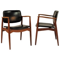 1960s Erik Buch Pair of Model 67 Captains Chair in Teak, Inc. Reupholstery
