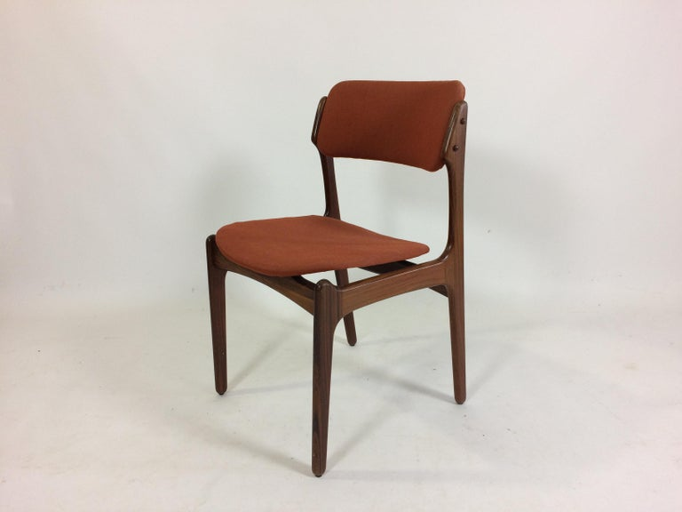 Scandinavian Modern 1960s Erik Buch Set of 12 Rosewood Dining Chairs, Inc. Re-Upholstery For Sale