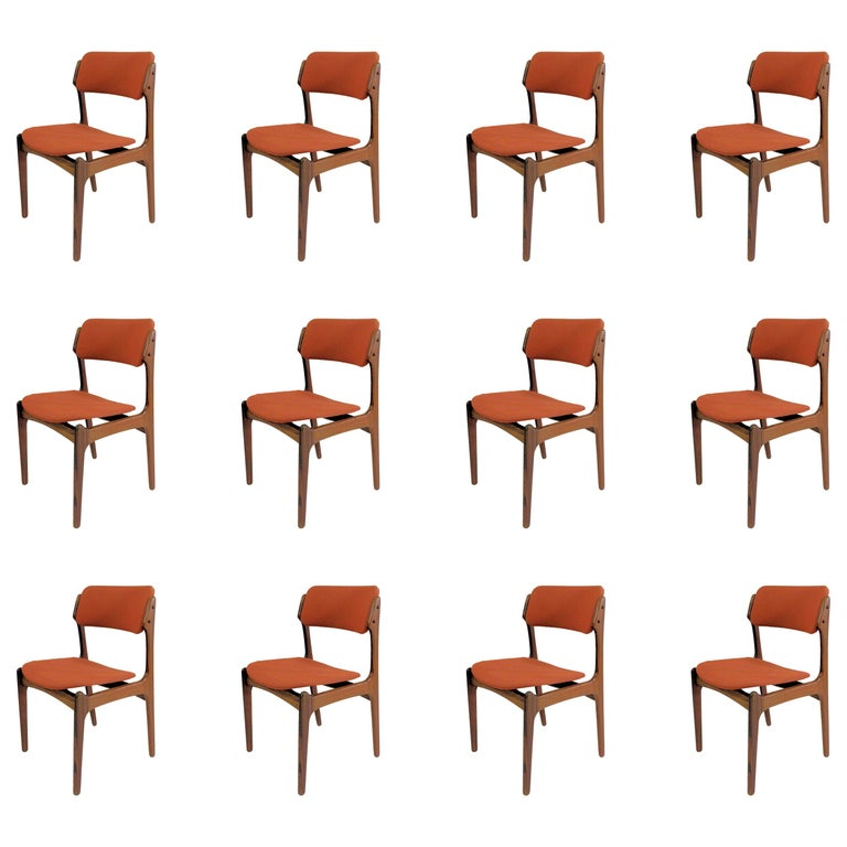 1960s Erik Buch Set of 12 Rosewood Dining Chairs, Inc. Re-Upholstery For Sale