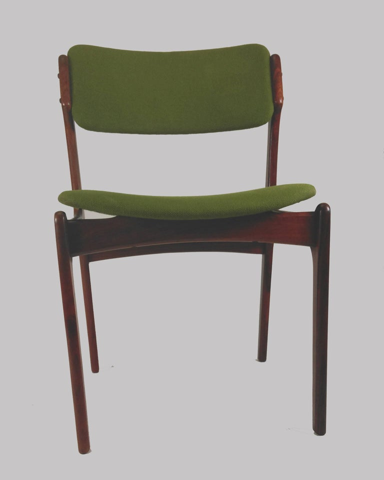 Scandinavian Modern 1960s Erik Buch Set of Eight Model 49 Rosewood Dining Chairs For Sale