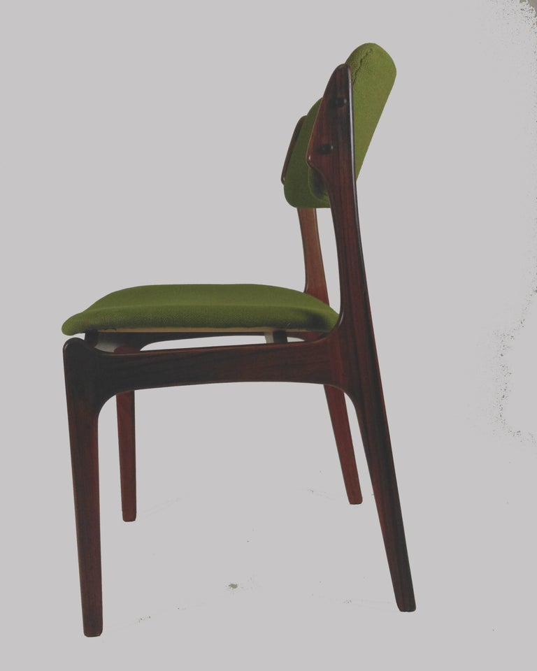 1960s Erik Buch Set of Eight Model 49 Rosewood Dining Chairs In Good Condition For Sale In Knebel, DK