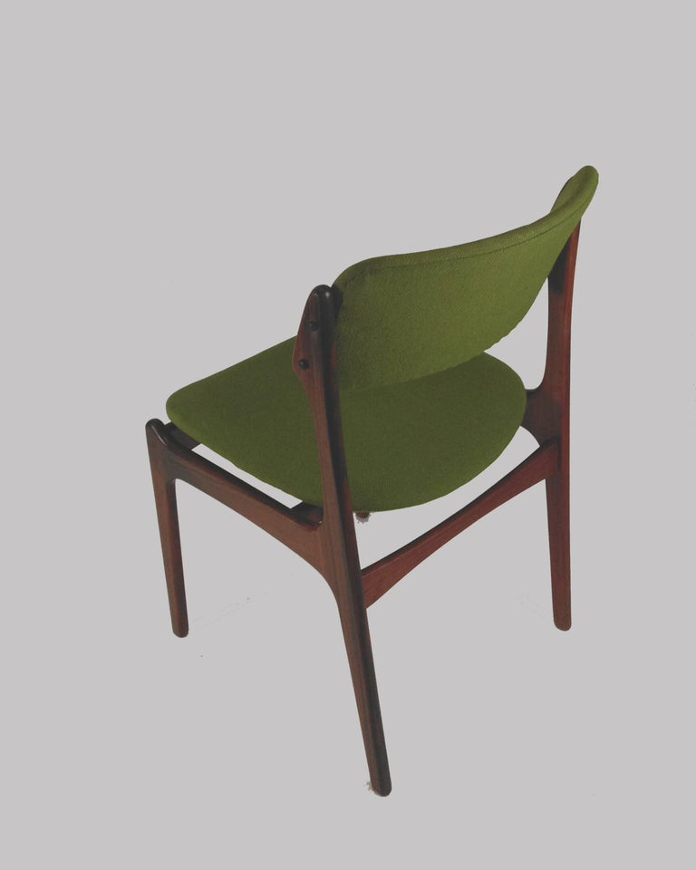 Fabric 1960s Erik Buch Set of Eight Model 49 Rosewood Dining Chairs For Sale