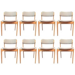 1960s Erik Buch Set of Eight Oak Dining Chairs, Inc. Reupholstery