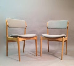 1960s Erik Buch Set of Eigth Model 49 Oak Dining Chairs Inc. Reupholstery