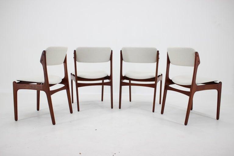 Mid-Century Modern 1960s Erik Buch Set of Four Teak Dining Chairs, Denmark For Sale