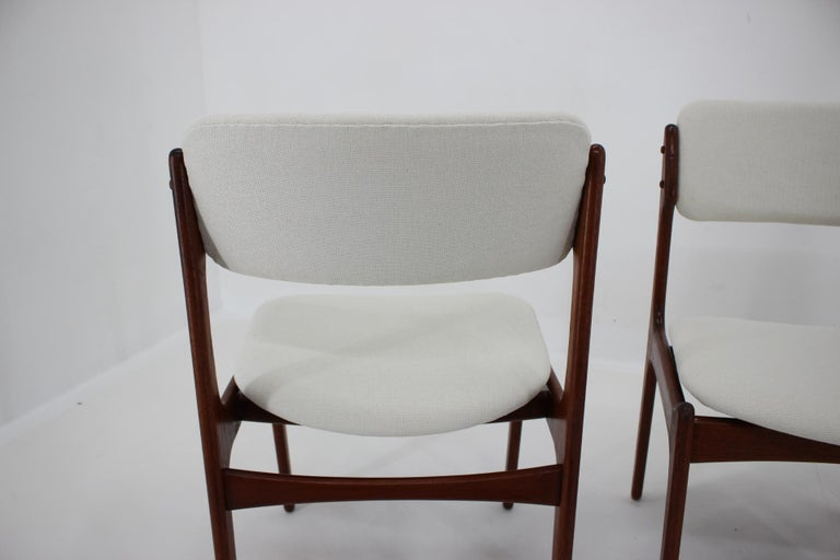 Fabric 1960s Erik Buch Set of Four Teak Dining Chairs, Denmark For Sale