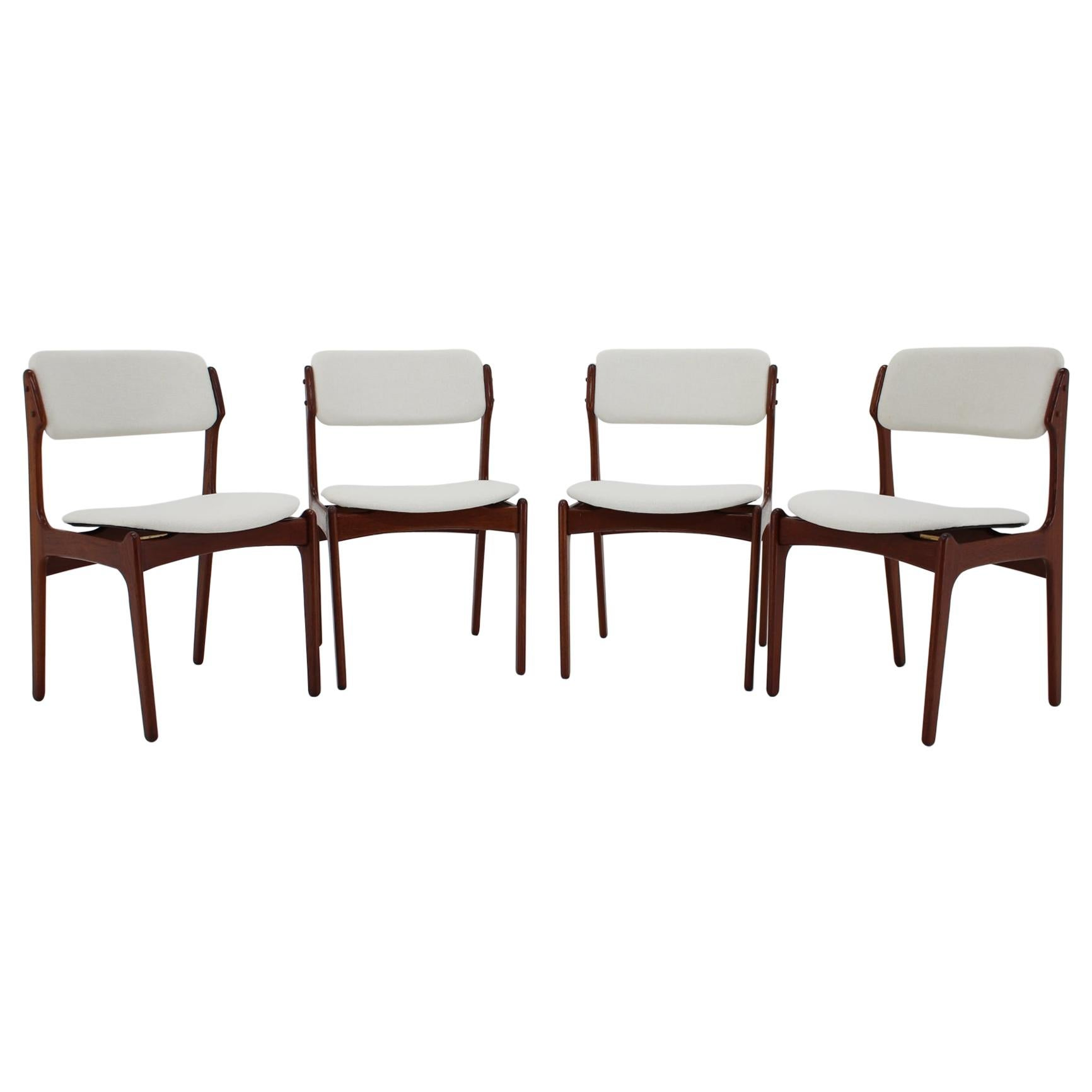 1960s Erik Buch Set of Four Teak Dining Chairs, Denmark