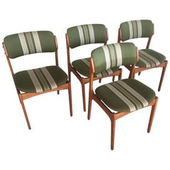 1960s Erik Buch Set of Four Teak Dining Chairs, Inc. Reupholstery