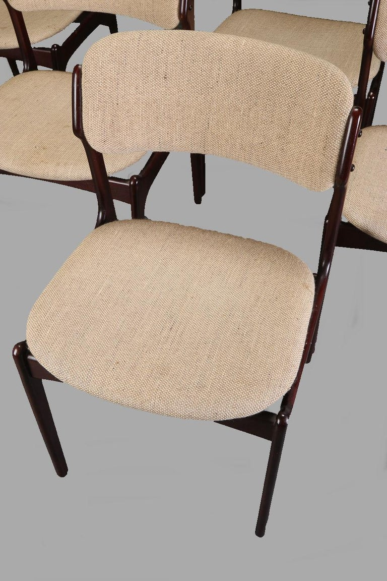 Scandinavian Modern Erik Buch Set of Six Refinished Dining Chairs in Tanned Oak, Inc. Reupholstery For Sale