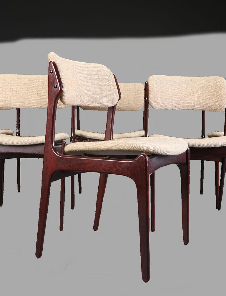 Danish Erik Buch Set of Six Refinished Dining Chairs in Tanned Oak, Inc. Reupholstery For Sale