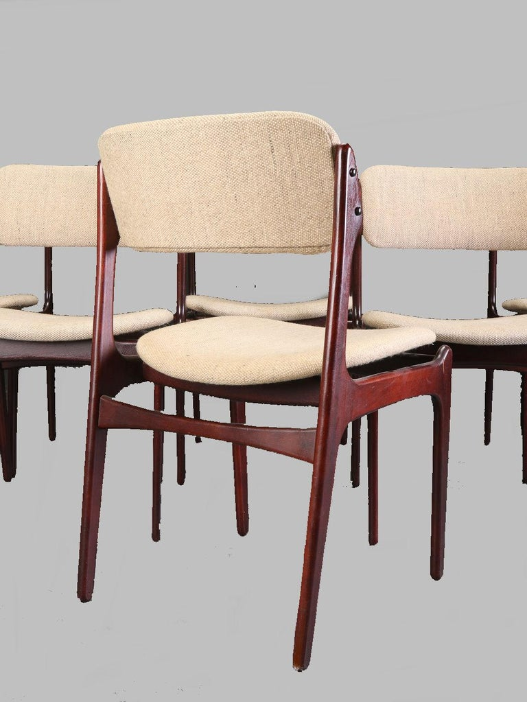 Woodwork Erik Buch Set of Six Refinished Dining Chairs in Tanned Oak, Inc. Reupholstery For Sale