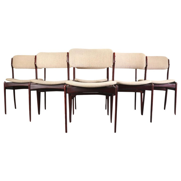 Erik Buch Set of Six Refinished Dining Chairs in Tanned Oak, Inc. Reupholstery For Sale