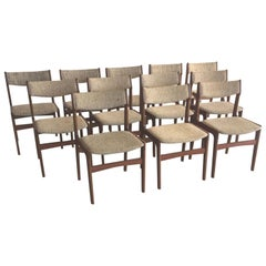 1960s Erik Buch Set of 12 Danish Teak Dining Chairs Inc. Reupholstery