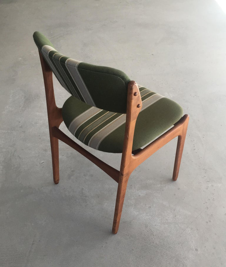 1960s Erik Buch Teak Dining Chairs, Inc. Reupholstery In Good Condition For Sale In Knebel, DK