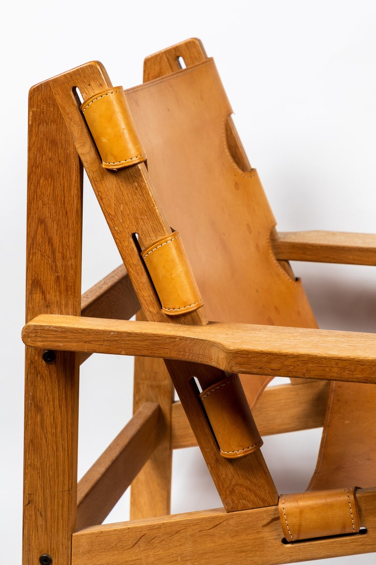 1960s Erling Jessen Oak and Leather Lounge Chair For Sale 5