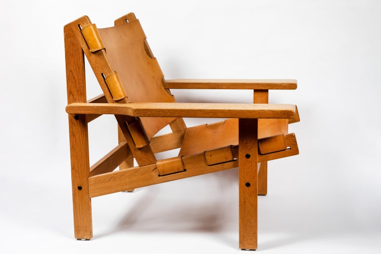 Danish 1960s Erling Jessen Oak and Leather Lounge Chair For Sale