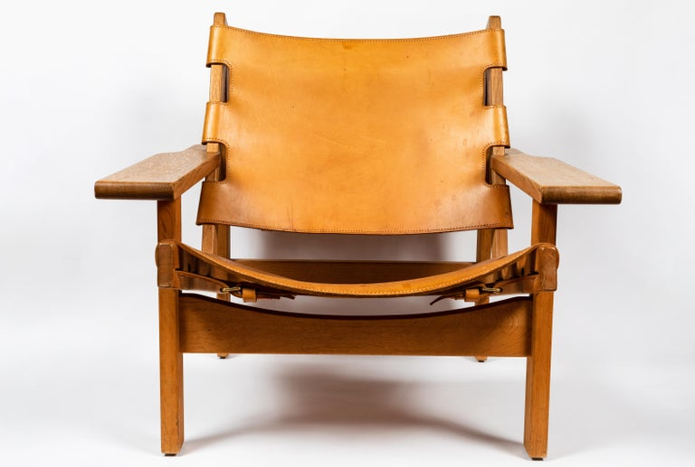 1960s Erling Jessen Oak and Leather Lounge Chair In Good Condition For Sale In Glendale, CA