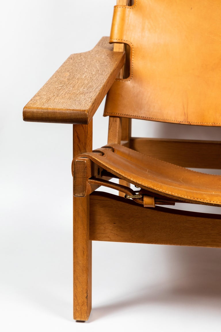 Mid-20th Century 1960s Erling Jessen Oak and Leather Lounge Chair For Sale