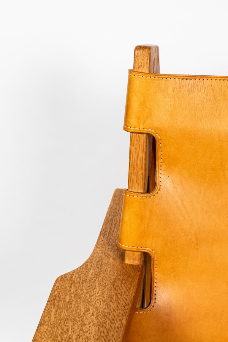 1960s Erling Jessen Oak and Leather Lounge Chair For Sale 1