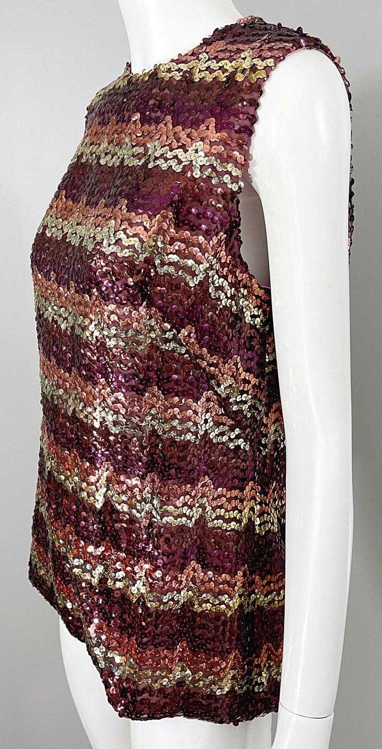 1960s ESTEVEZ Sequin Pink Gold Brown Sequin Open Back Vintage 60s Trapeze Top For Sale 6