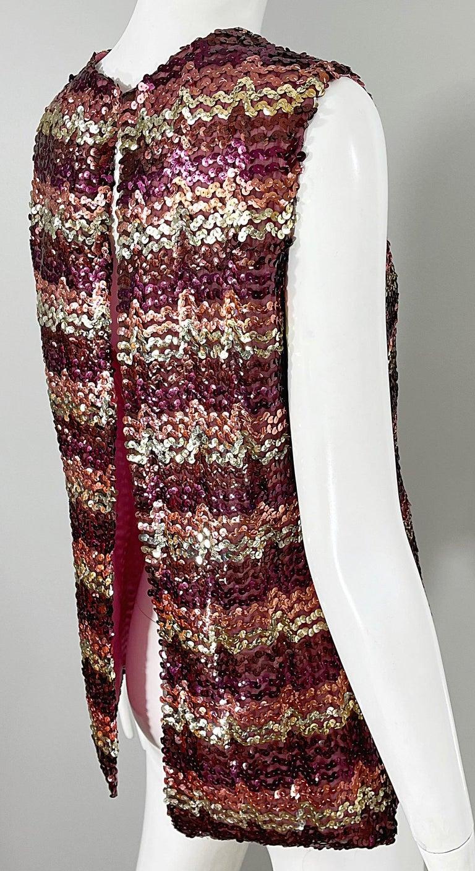 1960s ESTEVEZ Sequin Pink Gold Brown Sequin Open Back Vintage 60s Trapeze Top For Sale 7