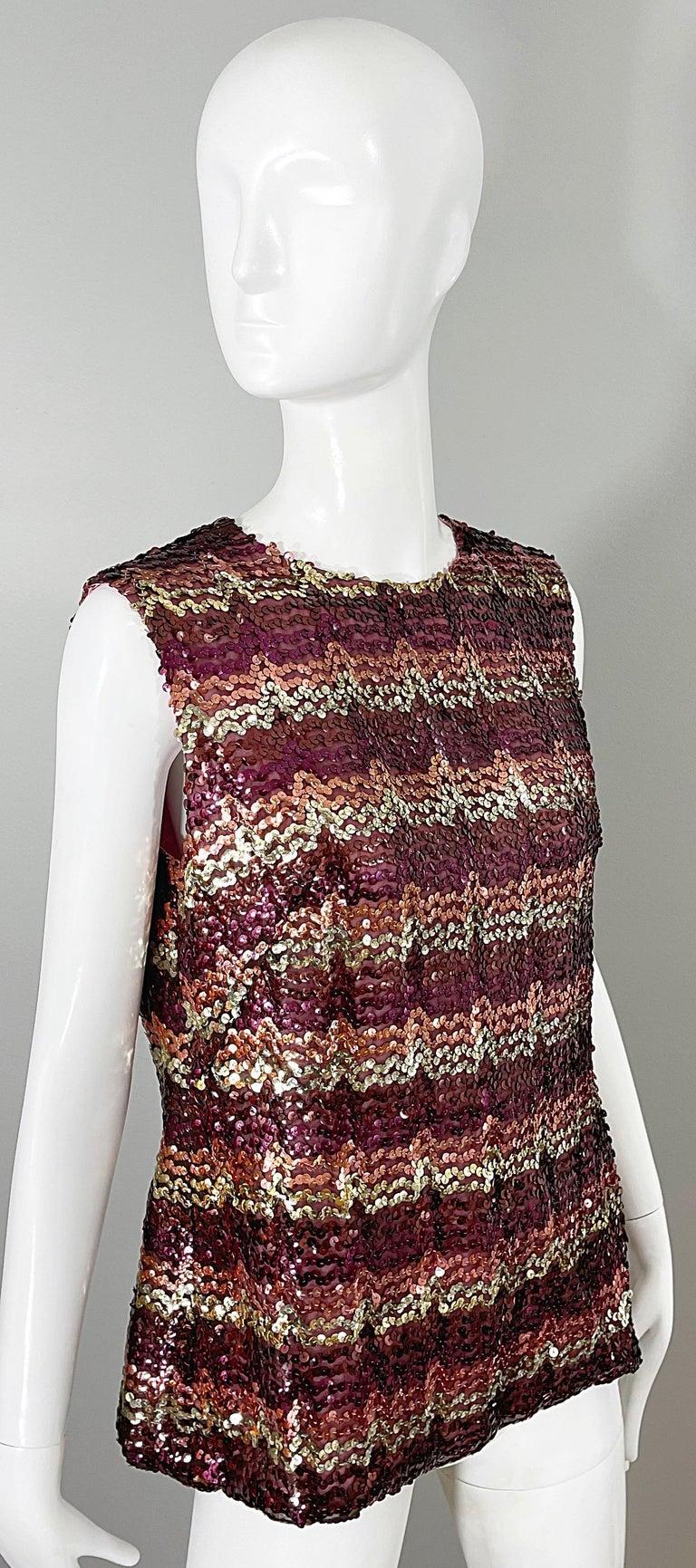 1960s ESTEVEZ Sequin Pink Gold Brown Sequin Open Back Vintage 60s Trapeze Top For Sale 8