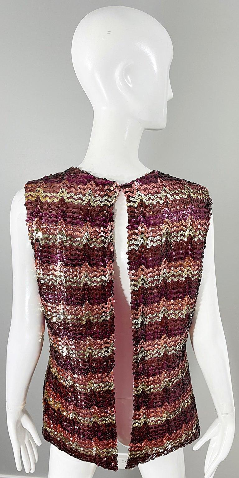 1960s ESTEVEZ Sequin Pink Gold Brown Sequin Open Back Vintage 60s Trapeze Top For Sale 9
