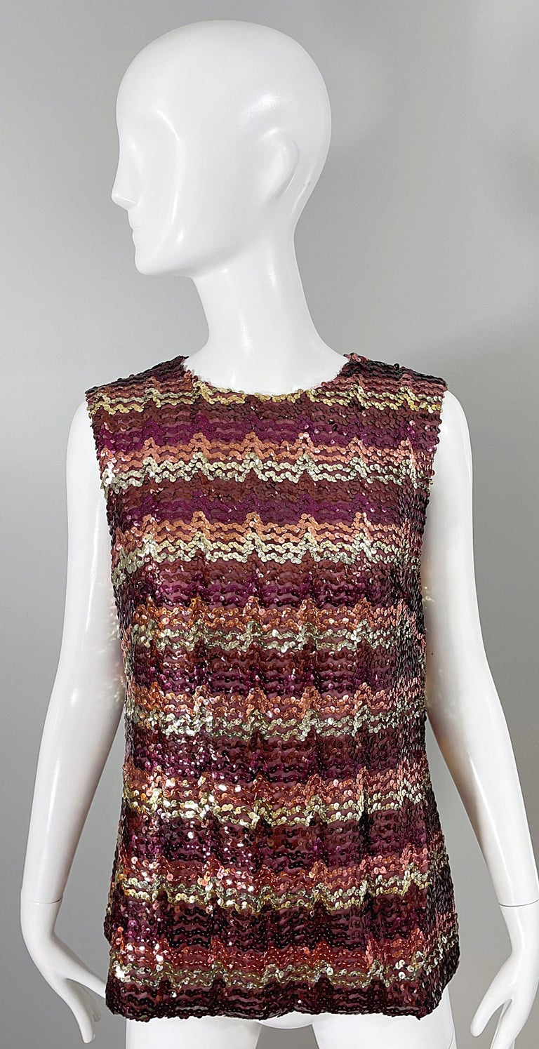 1960s ESTEVEZ Sequin Pink Gold Brown Sequin Open Back Vintage 60s Trapeze Top In Excellent Condition For Sale In Chicago, IL