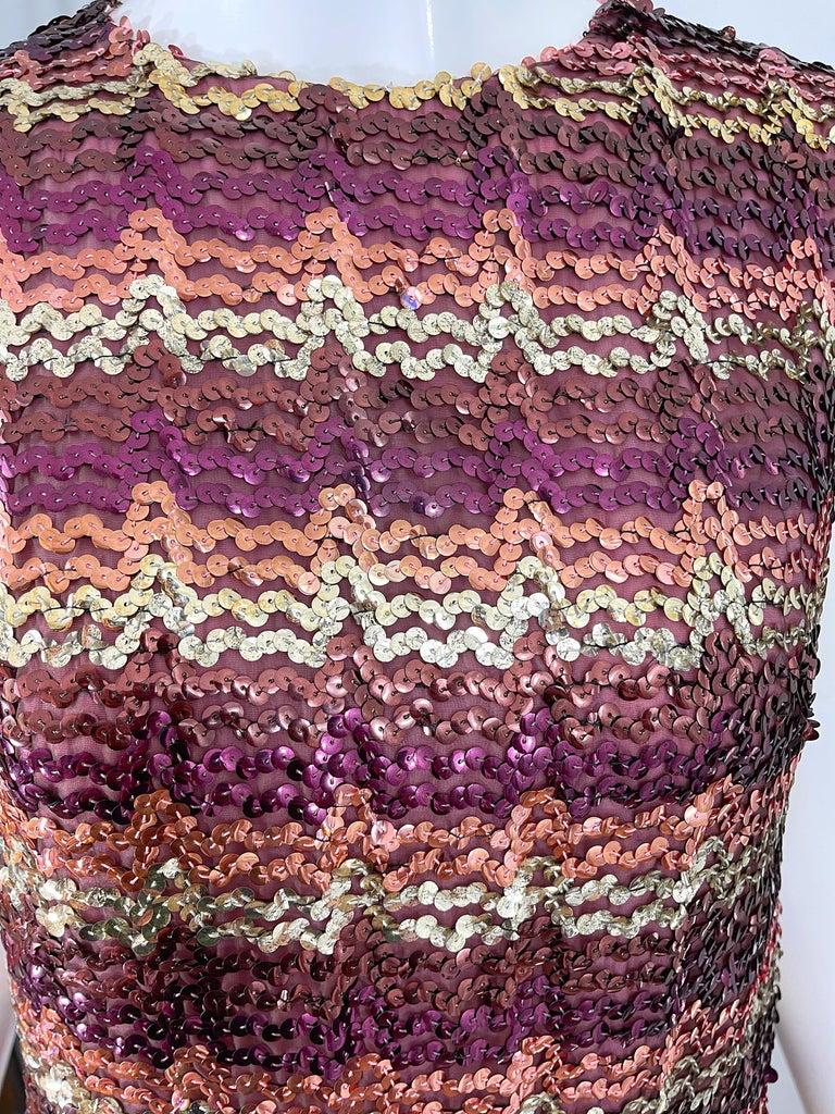 Women's 1960s ESTEVEZ Sequin Pink Gold Brown Sequin Open Back Vintage 60s Trapeze Top For Sale