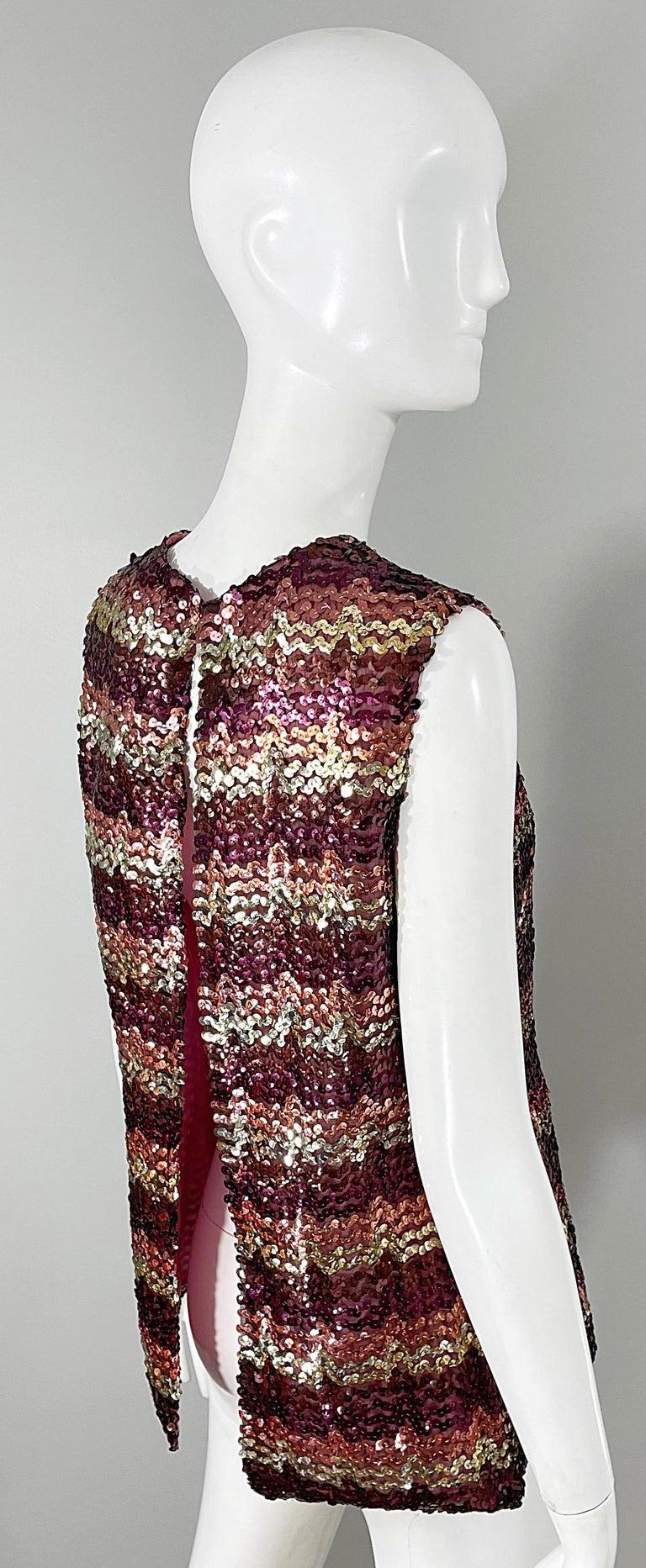 1960s ESTEVEZ Sequin Pink Gold Brown Sequin Open Back Vintage 60s Trapeze Top For Sale 2