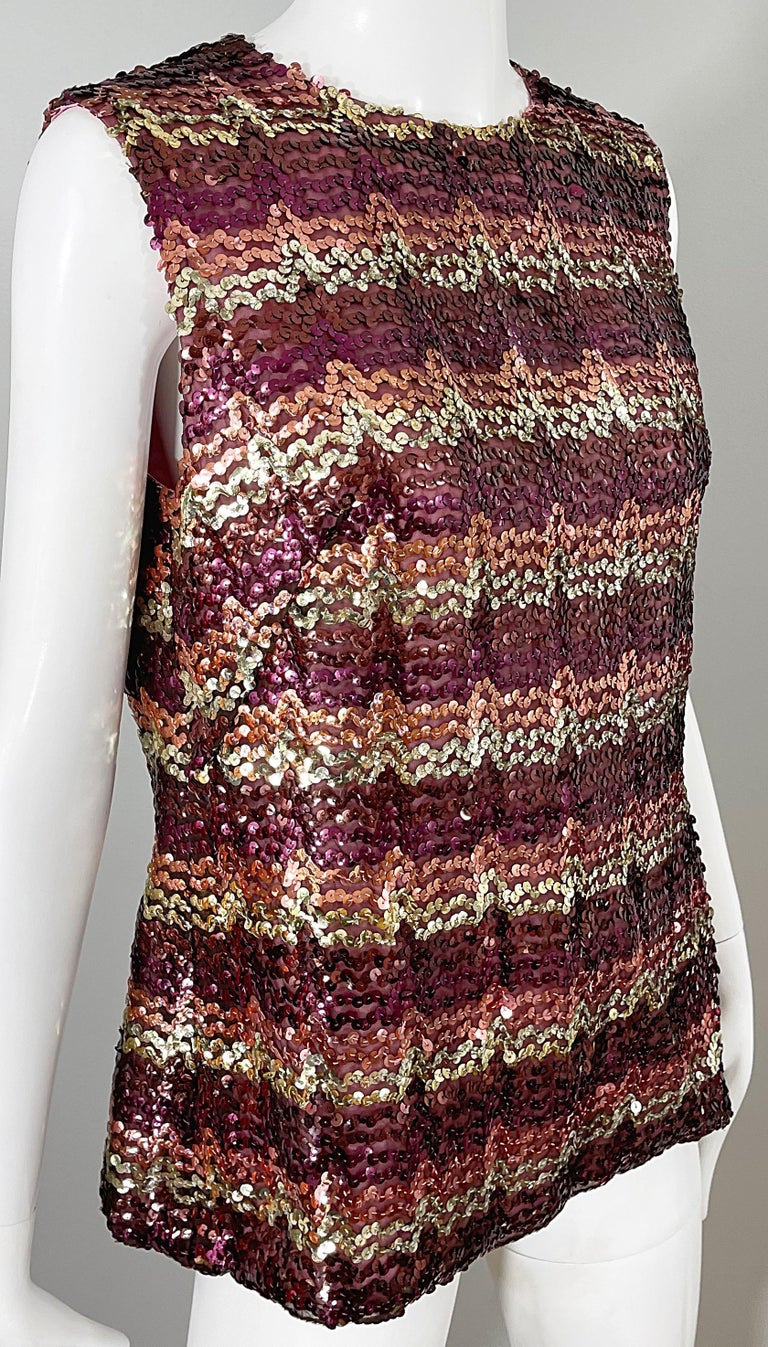 1960s ESTEVEZ Sequin Pink Gold Brown Sequin Open Back Vintage 60s Trapeze Top For Sale 3
