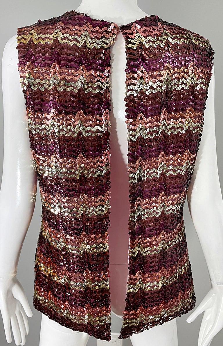 1960s ESTEVEZ Sequin Pink Gold Brown Sequin Open Back Vintage 60s Trapeze Top For Sale 4