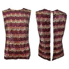 1960s ESTEVEZ Sequin Pink Gold Brown Sequin Open Back Vintage 60s Trapeze Top