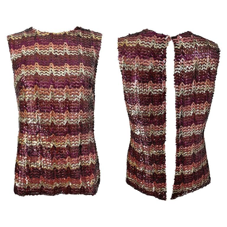 1960s ESTEVEZ Sequin Pink Gold Brown Sequin Open Back Vintage 60s Trapeze Top For Sale
