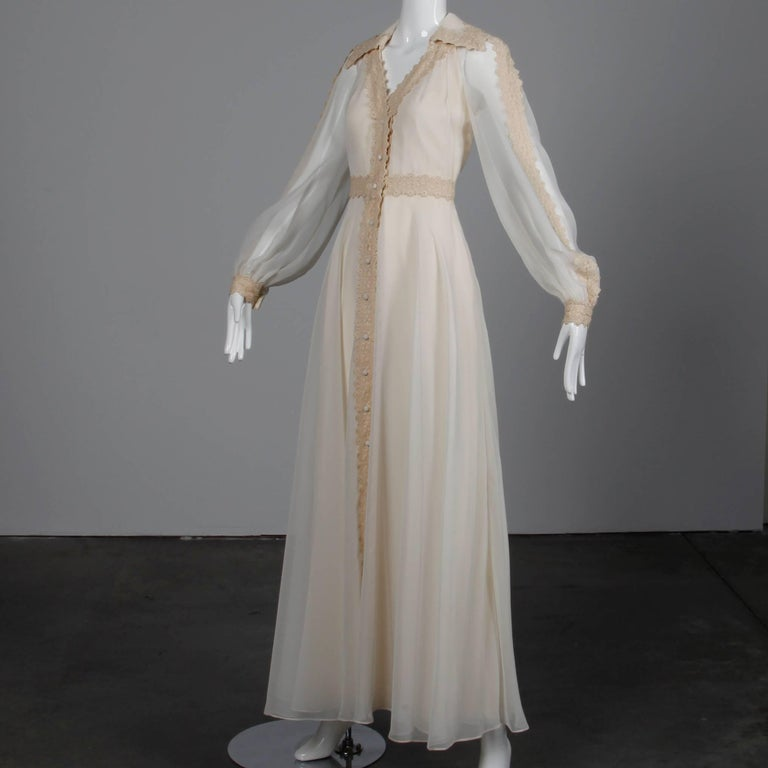 1960s Estevez Vintage Crochet Lace and Chiffon Wedding Gown or Maxi Dress In Excellent Condition For Sale In Sparks, NV