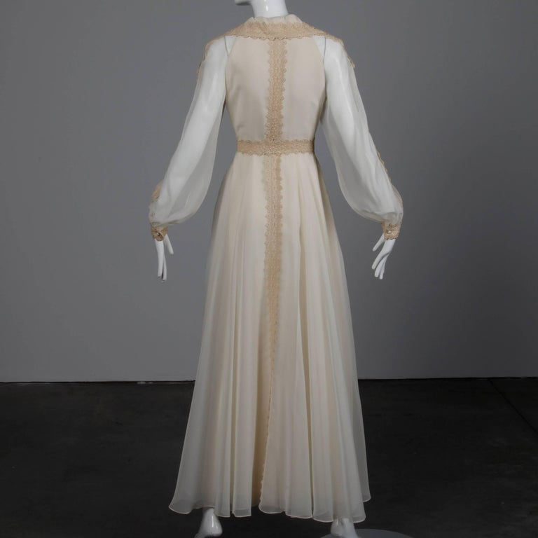 Women's 1960s Estevez Vintage Crochet Lace and Chiffon Wedding Gown or Maxi Dress For Sale