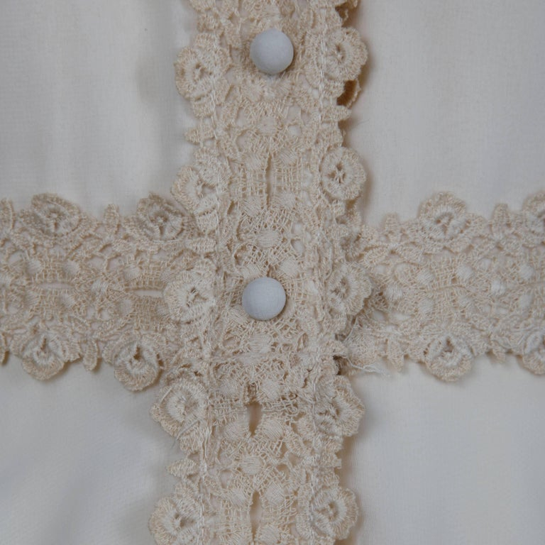 1960s Estevez Vintage Crochet Lace and Chiffon Wedding Gown or Maxi Dress For Sale 3