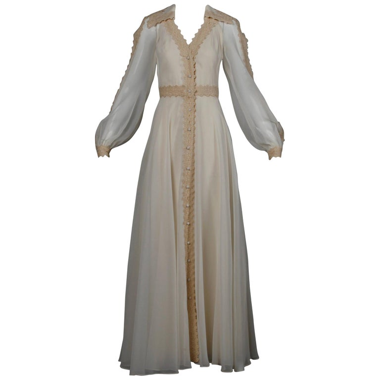 1960s Estevez Vintage Crochet Lace and Chiffon Wedding Gown or Maxi Dress For Sale