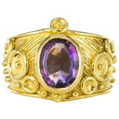 1960s Etruscan Style 1.70 Carat Amethyst 18 Karat Yellow Gold Ring
