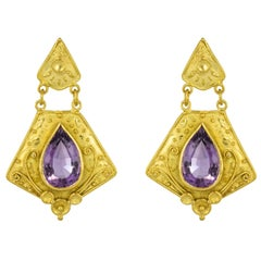 1960s Etruscan Style 8 Carat Amethyst 18 Karat Yellow Gold Earrings