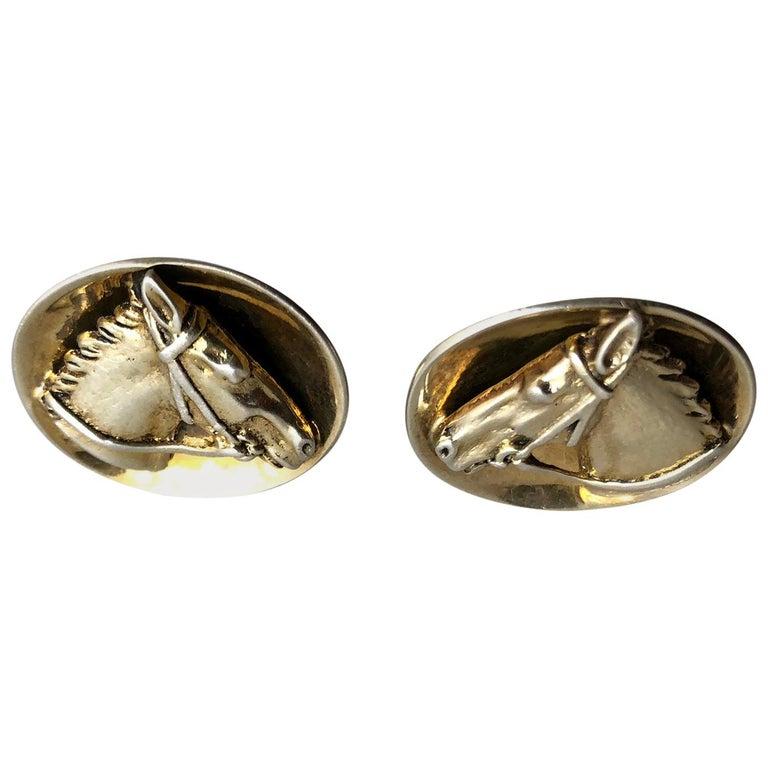 1960s European Silver Vermeil Equestrian Horse Head Cufflinks For Sale