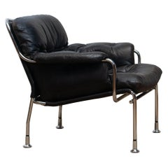 1960s, Eva Lounge Chairs in Chrome and Aged Black Leather by Lindlöfs Möbler 1