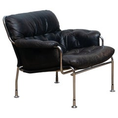 1960s, Eva Lounge Chairs in Chrome and Aged Black Leather by Lindlöfs Möbler