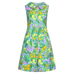 1960s Eva Pascal French Couture Colourful Waffle Cotton Dress