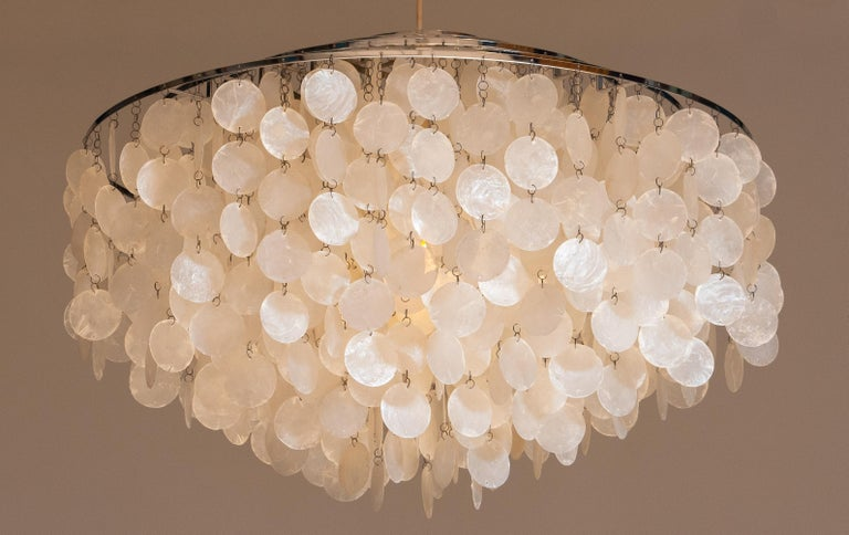 1960s Extra Large Capiz Shell Chandelier By Verner Panton