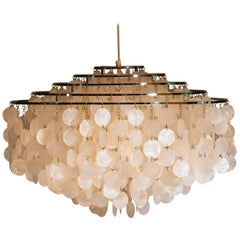 1960s Extra Large Capiz Shell Chandelier by Verner Panton for Luber AG. Swiss