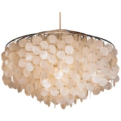 1960s, Extra Large Capiz Shell Chandelier by Verner Panton for Luber AG, Swiss